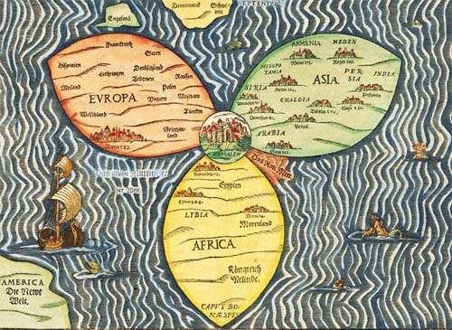 מפת בינטינג מ-1581 המציגה את העולם וירושלים במרכזו