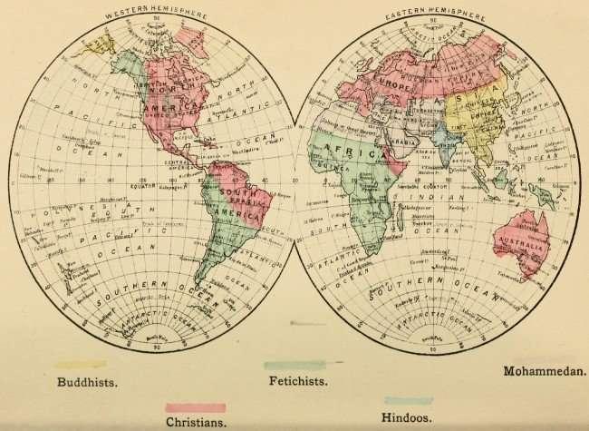 מפה מ-1883 המייצגת: נוצרים, בודהיסטים, הינדואים, מוחמדים ופגאנים